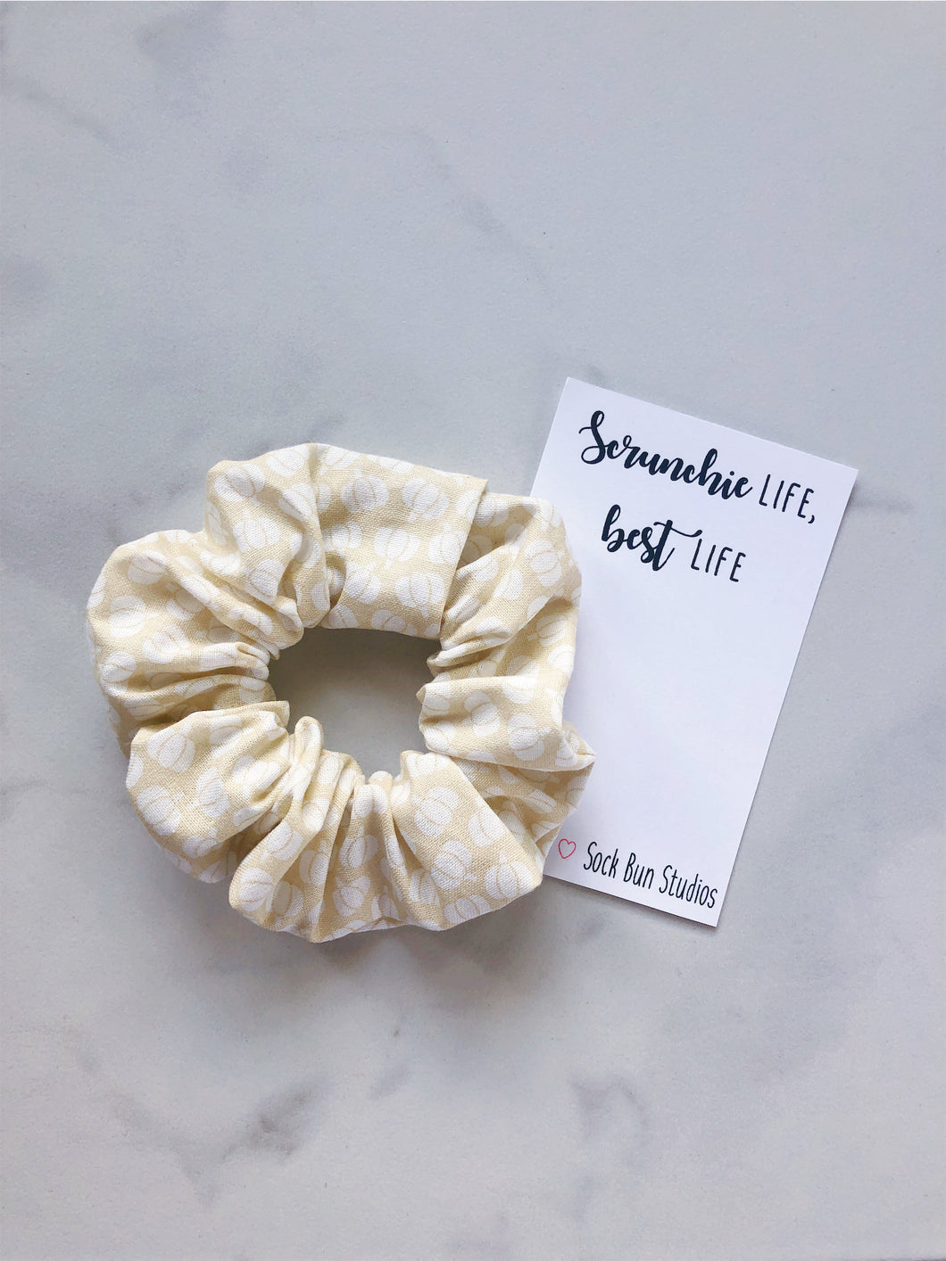 White Farmhouse Pumpkins Scrunchie