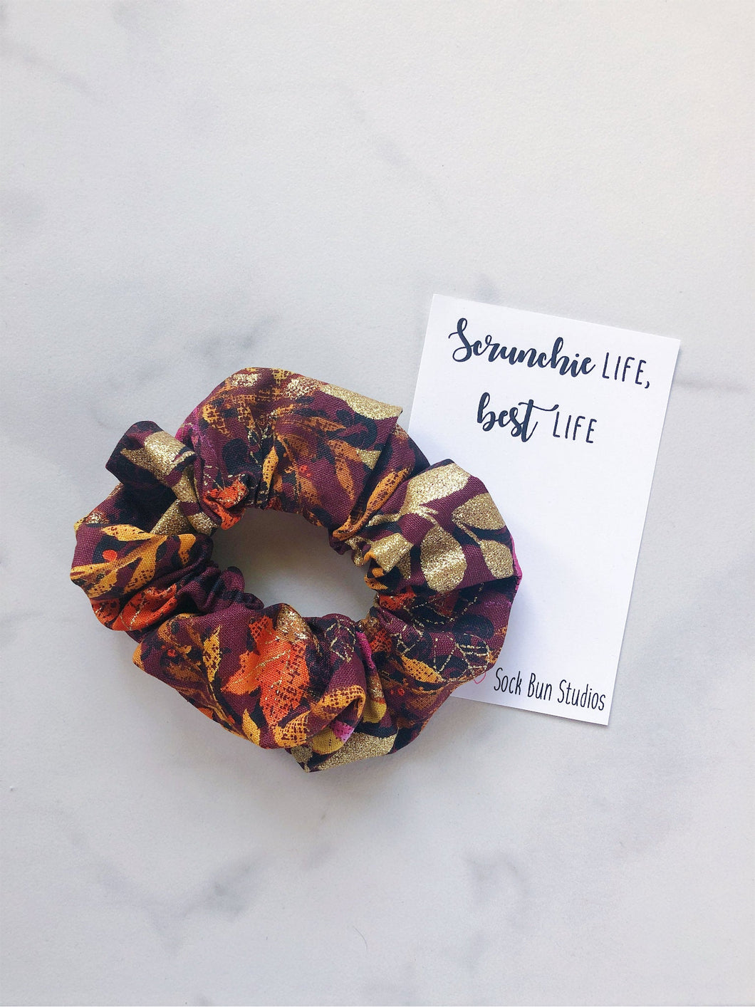 Golden Fall Leaves Scrunchies