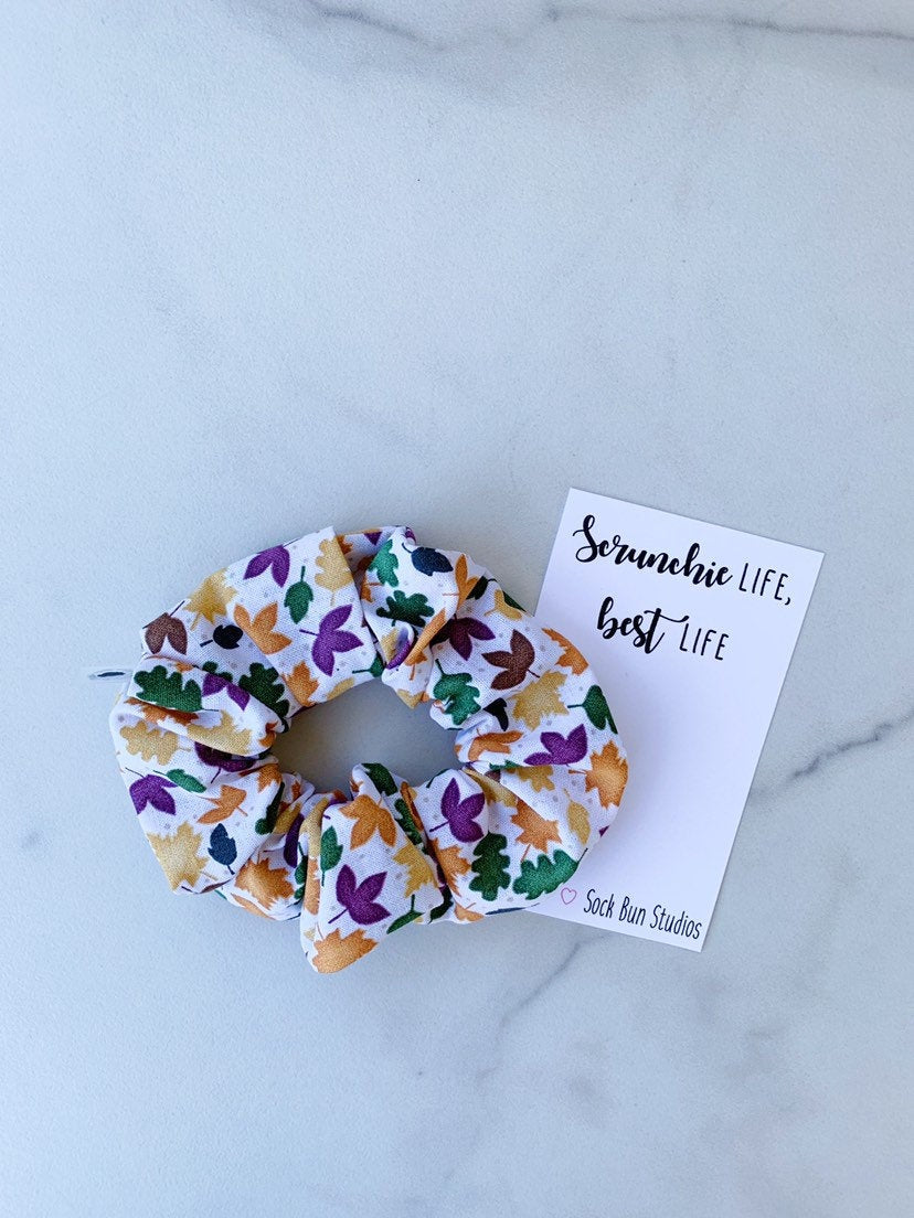 Polka Dot Leaves Scrunchies