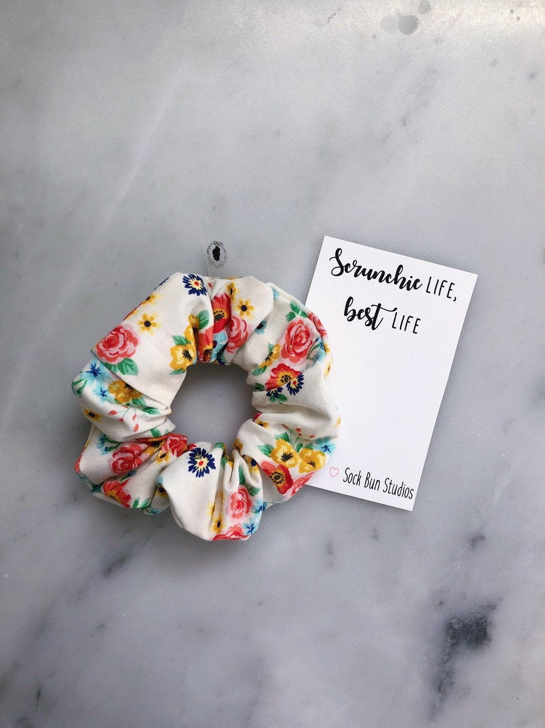 White Shabby Chic Floral Scrunchie