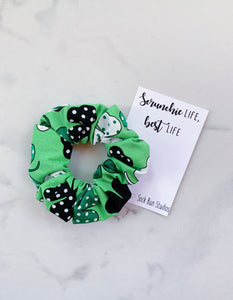 Polka Dot Shamrock Scrunchie