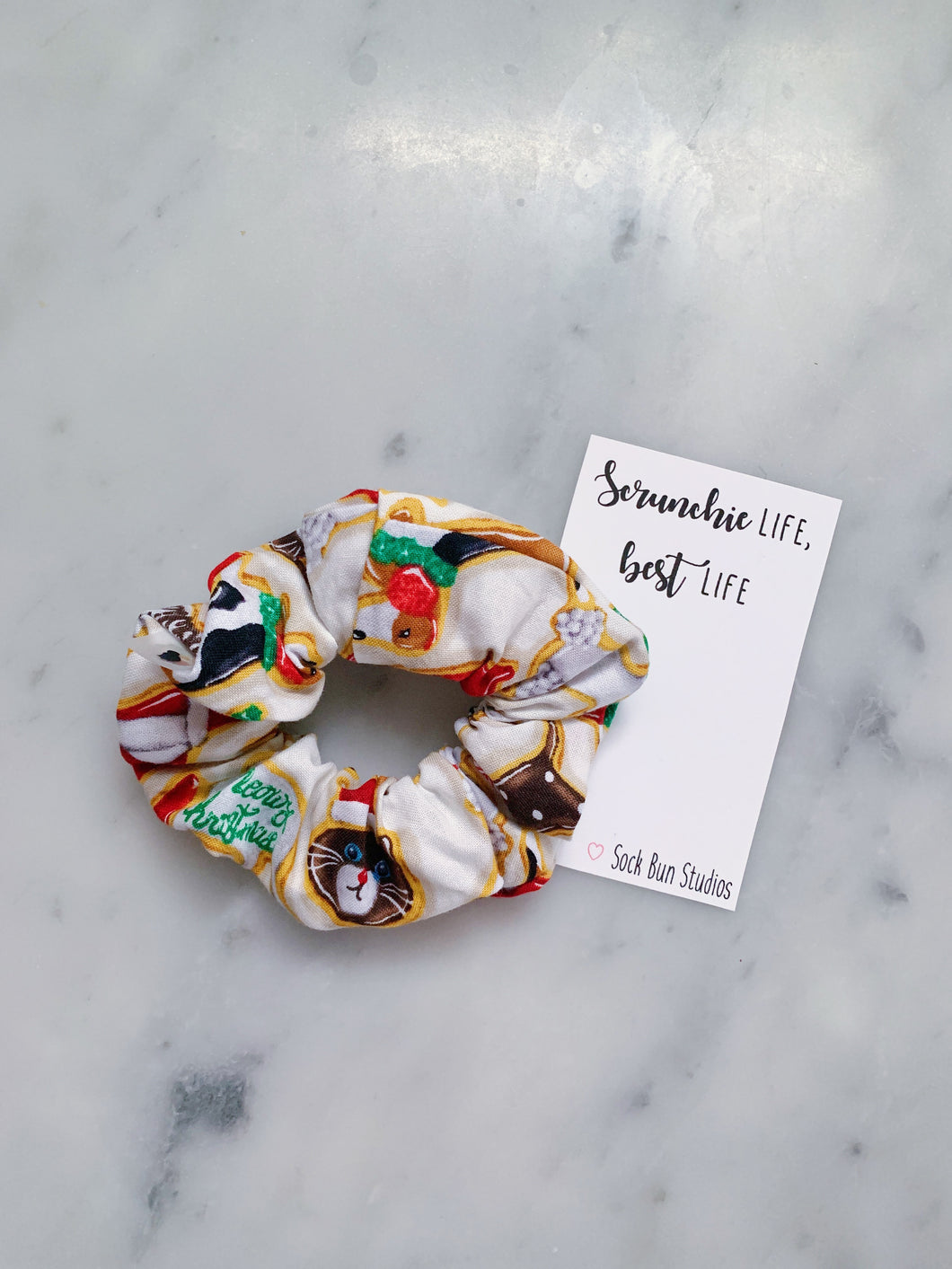Christmas Animal Sugar Cookies Scrunchie