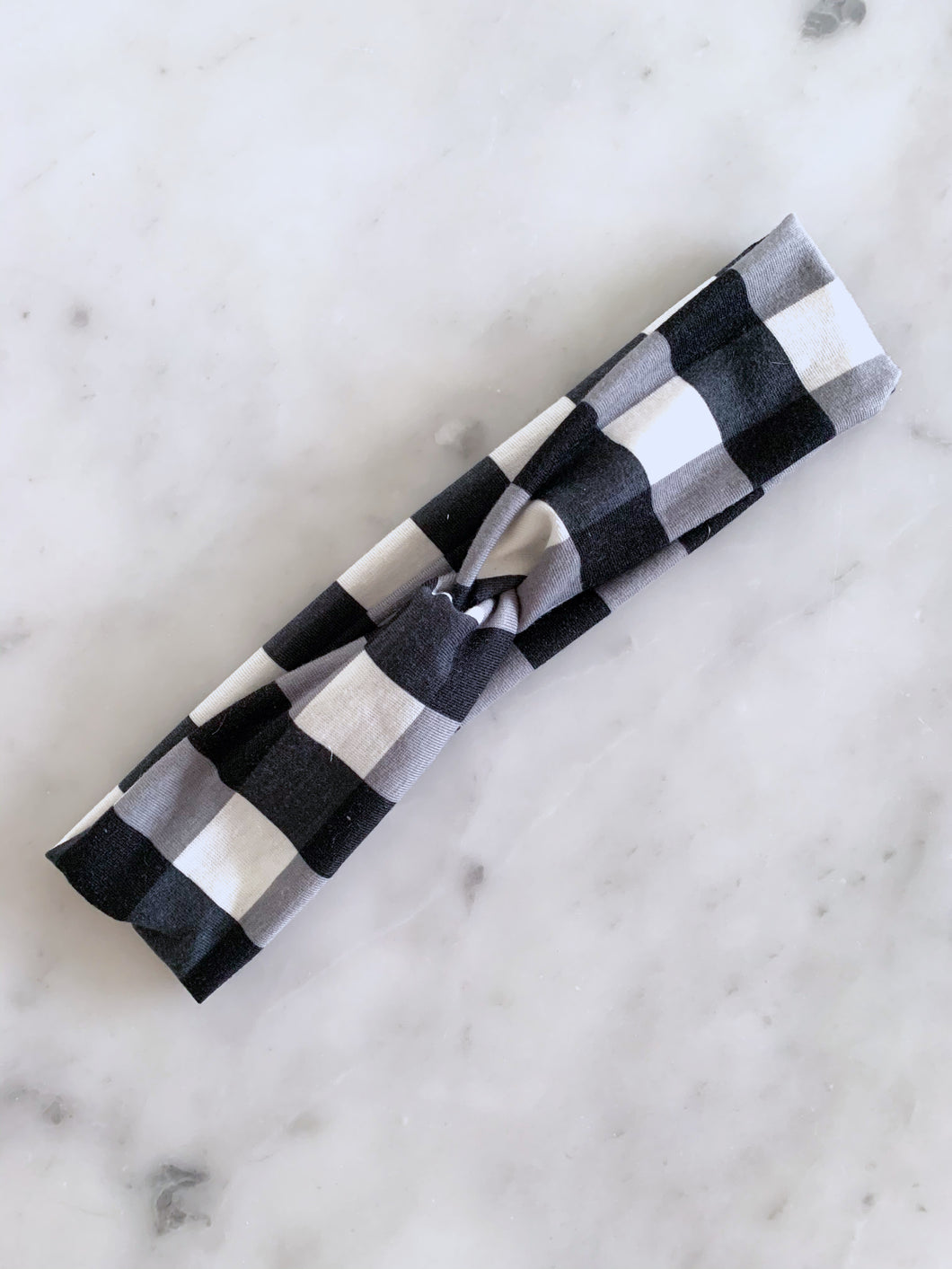 NEW Black and White Buffalo Plaid Headband
