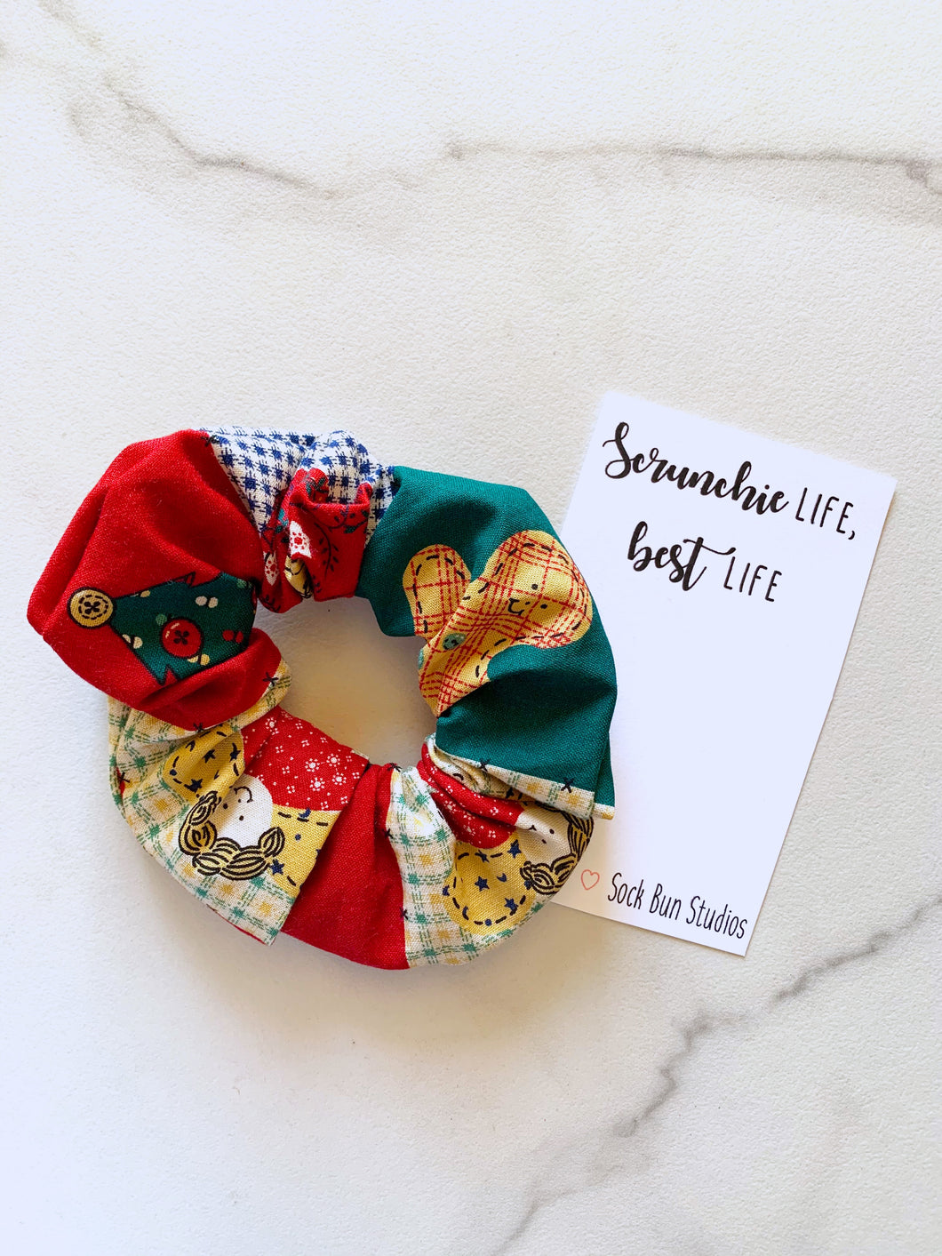 NEW Throwback Patchwork Christmas Scrunchie