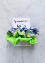 Load image into Gallery viewer, SALE WEEKLY DUO Neon Green Flannel Scrunchie Duo