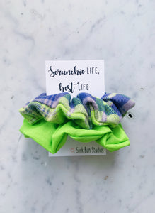 SALE WEEKLY DUO Neon Green Flannel Scrunchie Duo