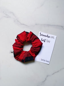 Red and Black Buffalo Check Scrunchie