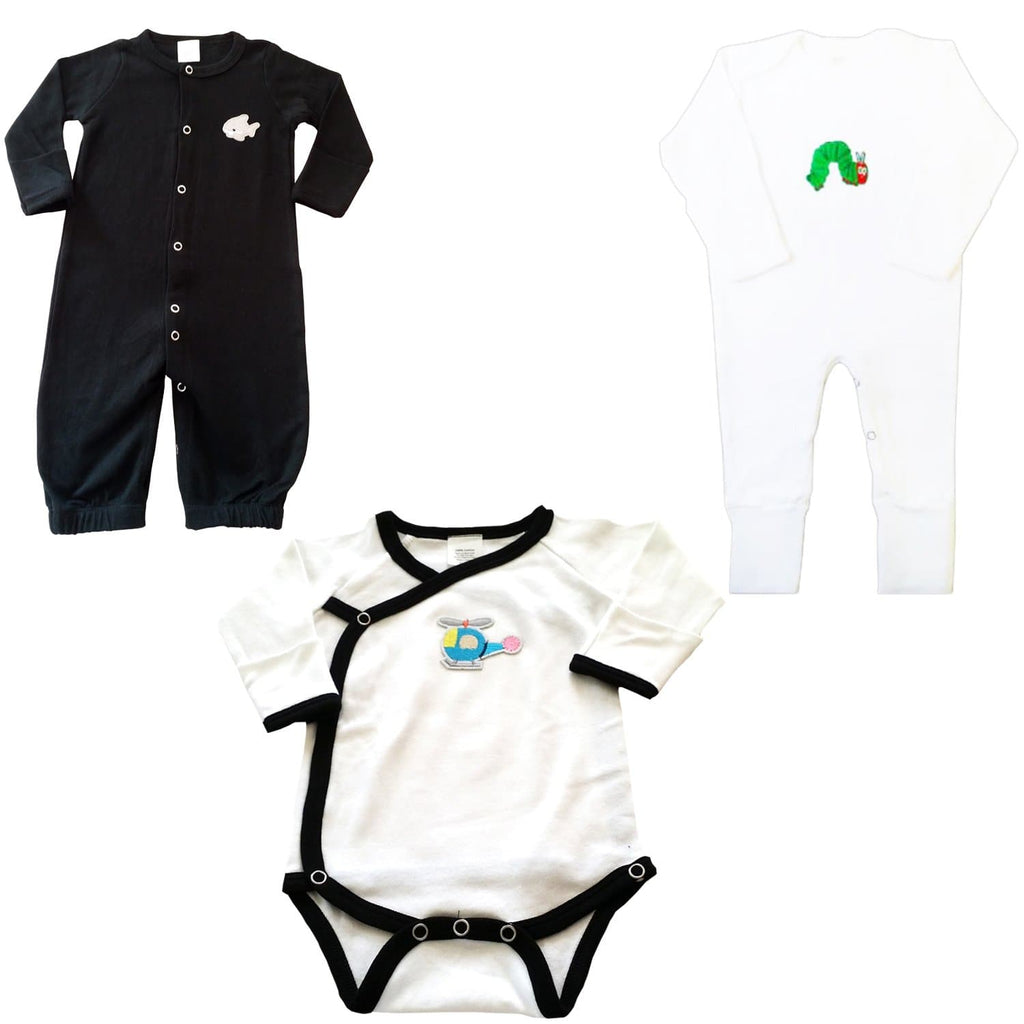 3 Piece Infant Bundle Set - Black Night Gown, Caterpillar Jumpsuit & Onesie - Snug Bub USA