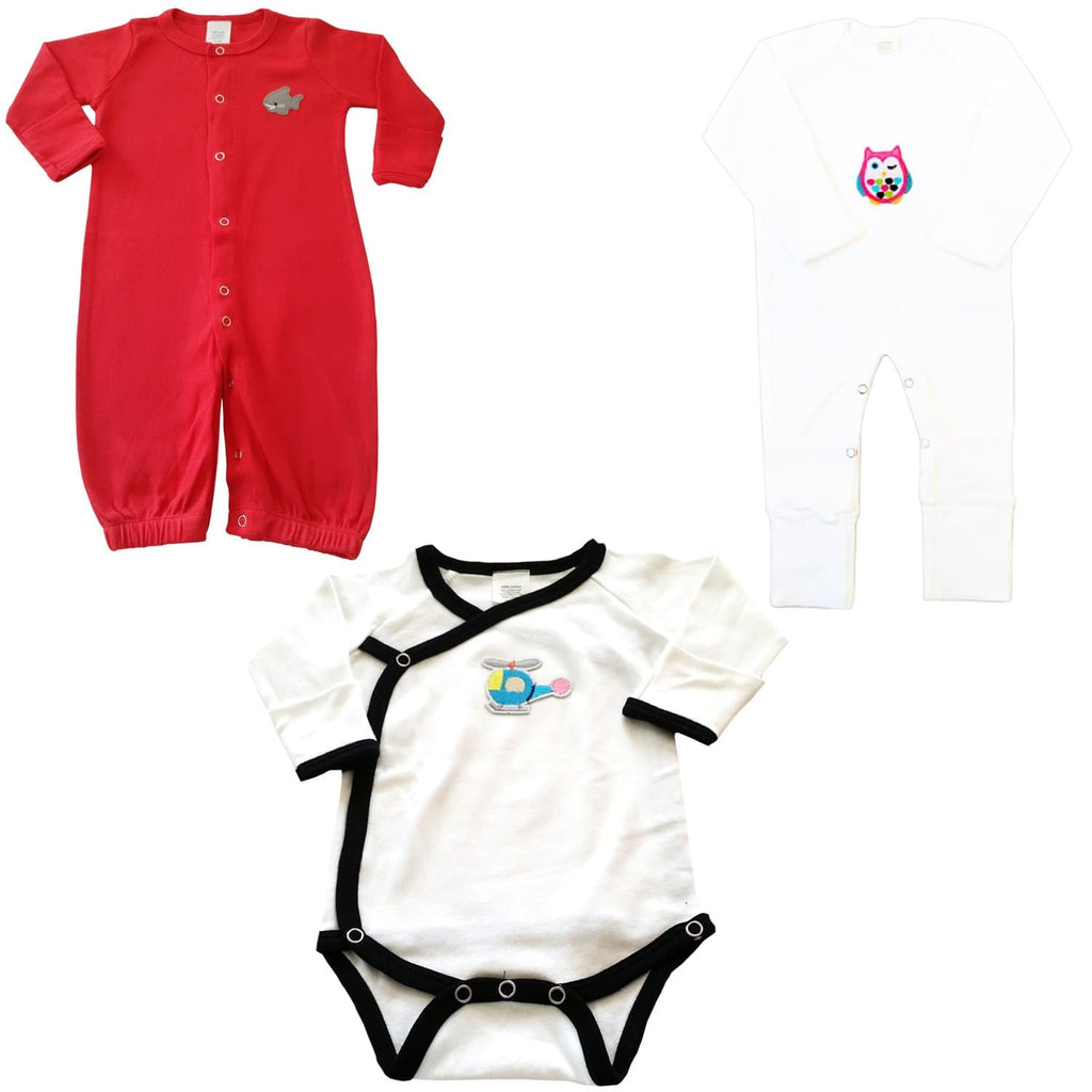 3 Piece Infant Bundle Set - Red Night Gown, Owl Jumpsuit & Onesie - Snug Bub USA