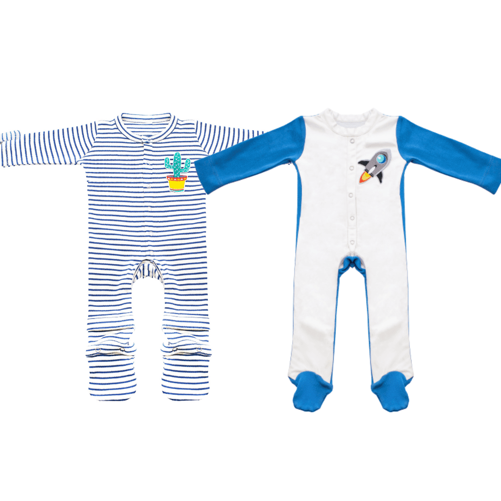 2 Piece Set Stain-Proof & Expandable Baby Cotton Jumpsuits Romper Newborn To 1 Year