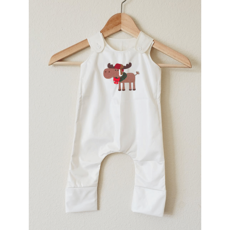 Stain-Proof Grow With Me Romper Christmas Moose