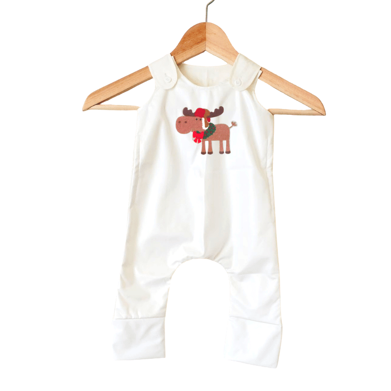 Stain-Proof & Expandable Romper Christmas Moose