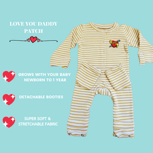 Expandable Baby Jumpsuit Love Mom/Dad Patch
