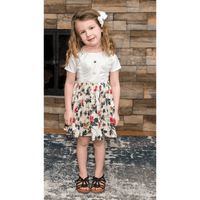 White Stain-Proof Toddler Printed Floral Dress