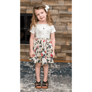 Stain-Proof/ Mess Proof Toddler Printed Floral Dress  ( 2 - 4  Years)