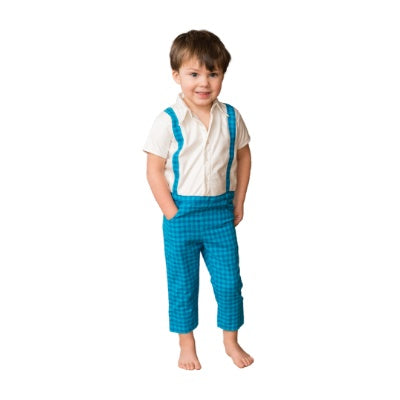 Blue Check Stain-Proof Toddler Romper Suspender Style Baby Clothes