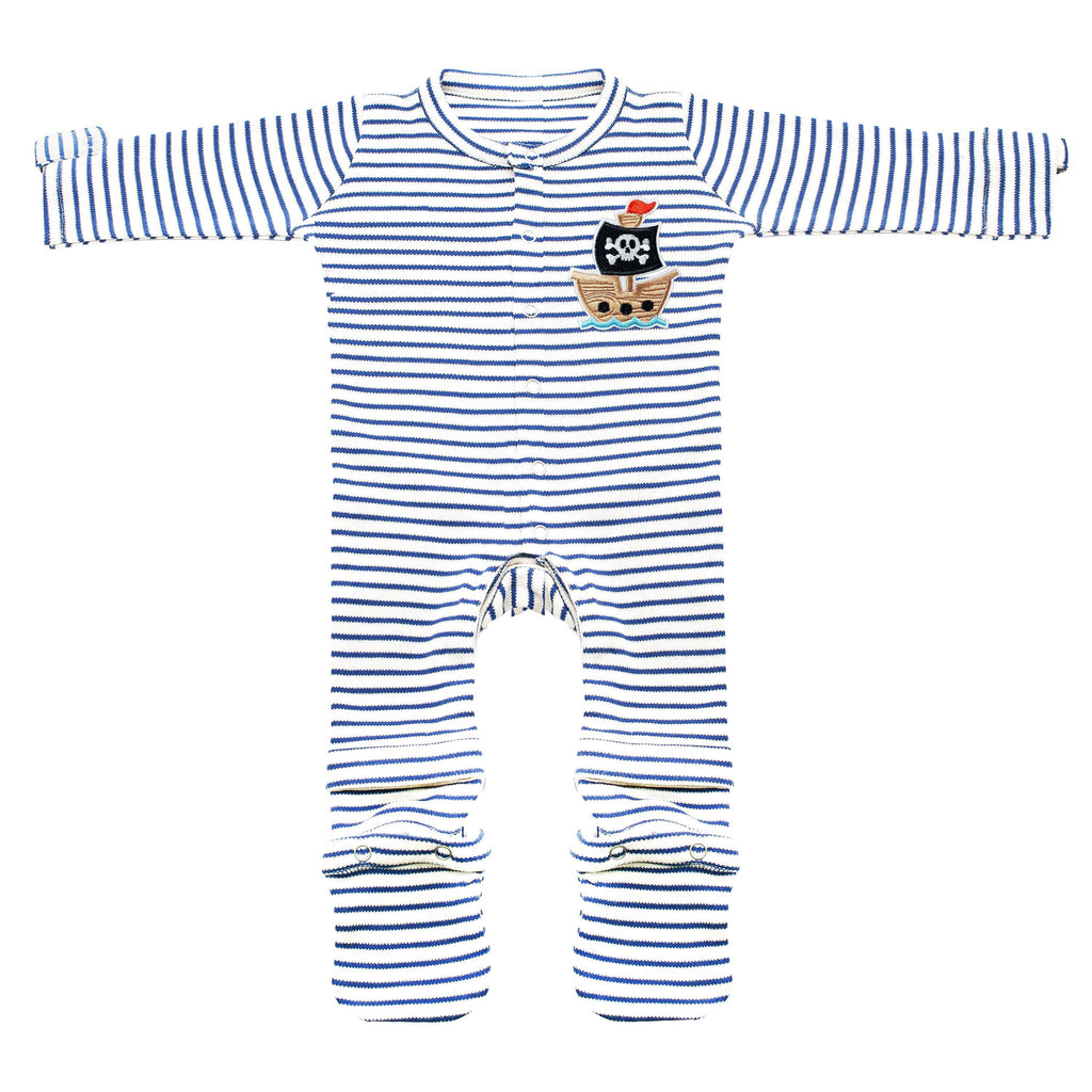 Blue Expandable Jumpsuit Pirate Patch Baby Clothes
