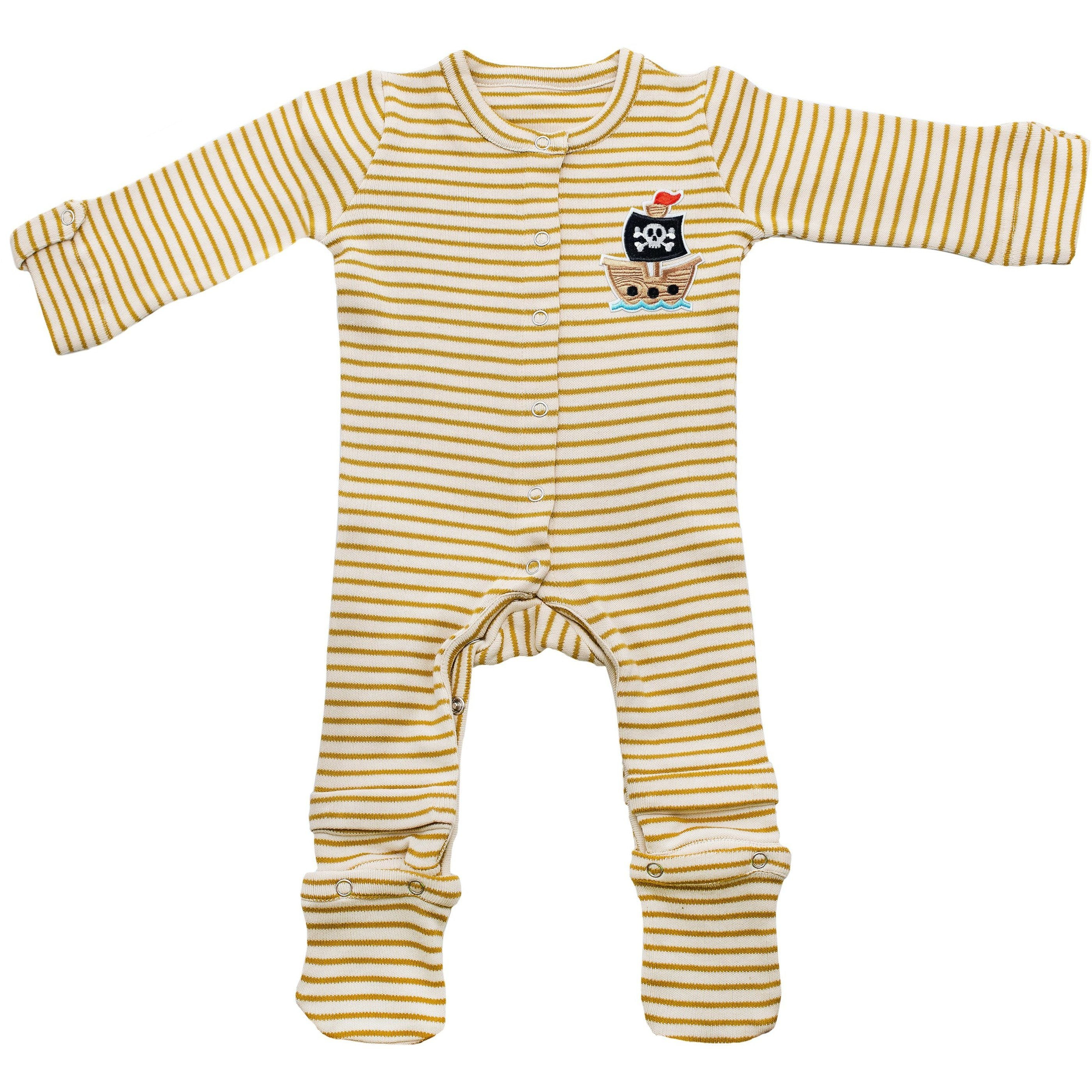 Brown Expandable Jumpsuit Infant Pirate Patch Baby Clothes
