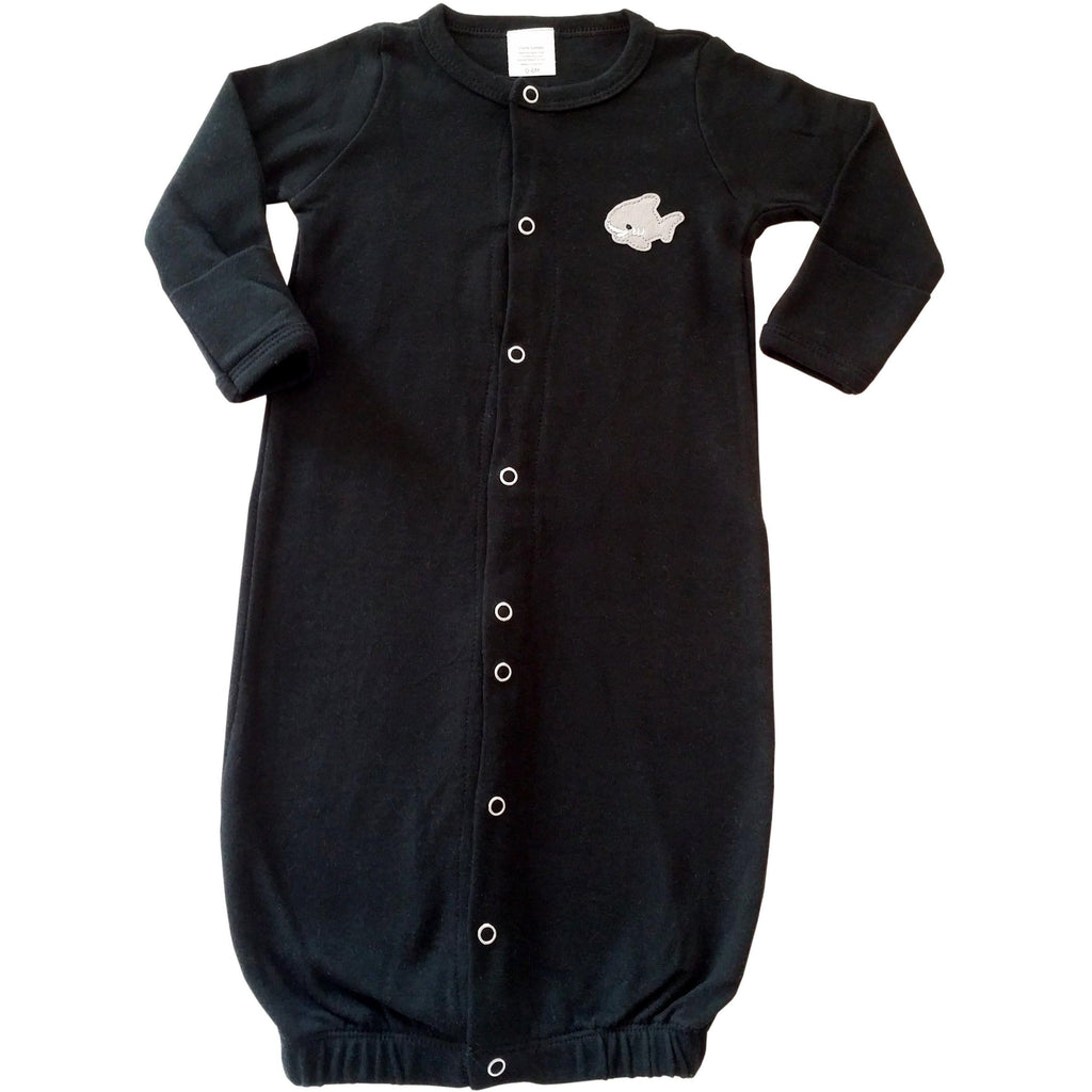 Convertible Infant  Night Gown To Pajamas Black