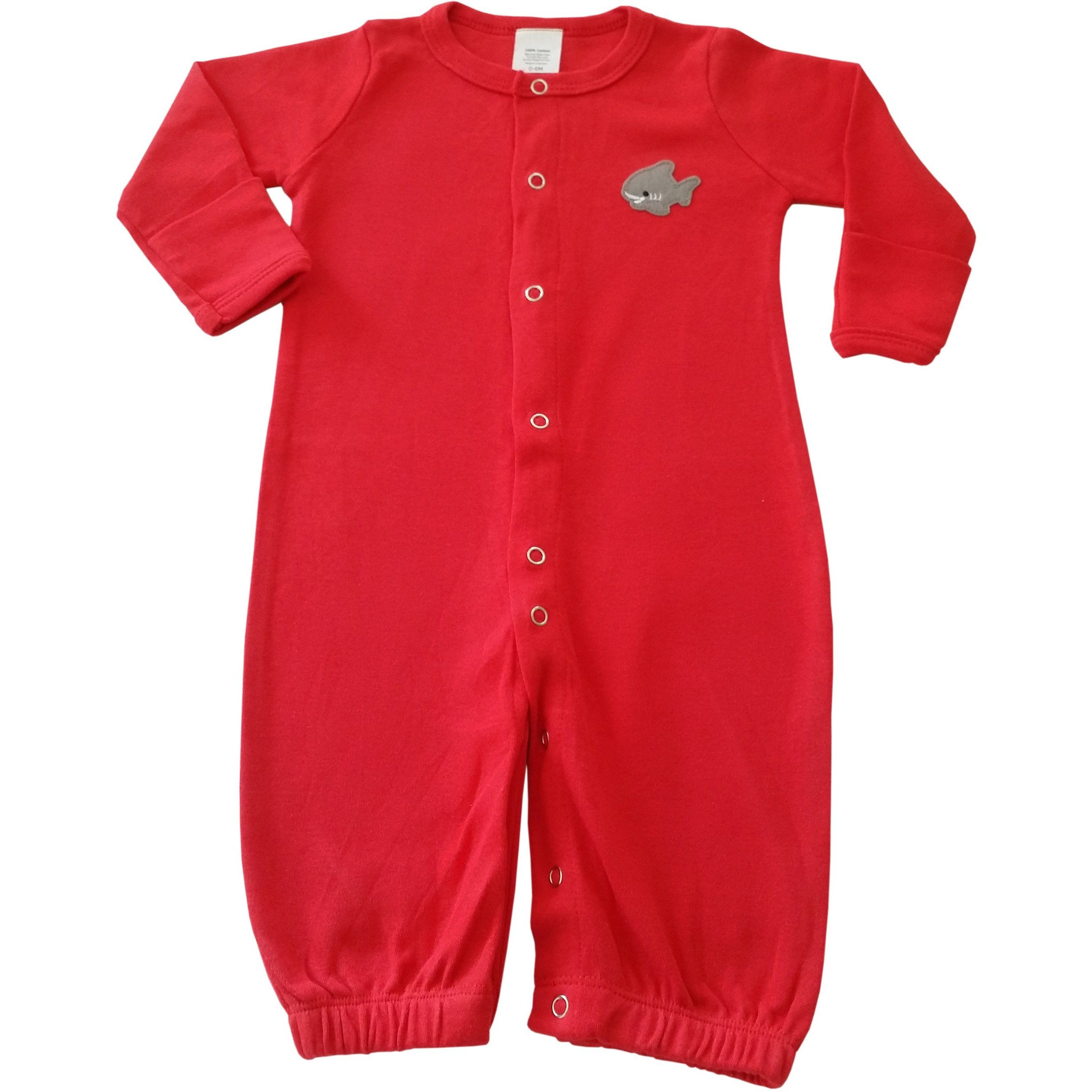 Convertible Infant Night Gown To Pajamas Red