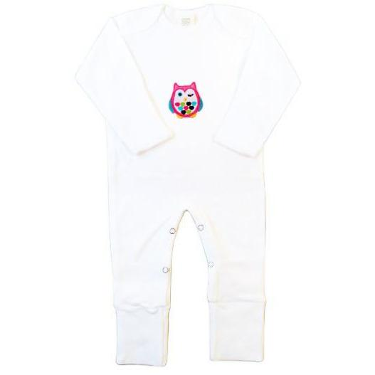 Owl Infant Jumpsuit With Foldable Mittens Booties