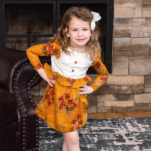 Tawny Brown Stain-Proof Toddler Printed Floral  Dress Baby Clothes