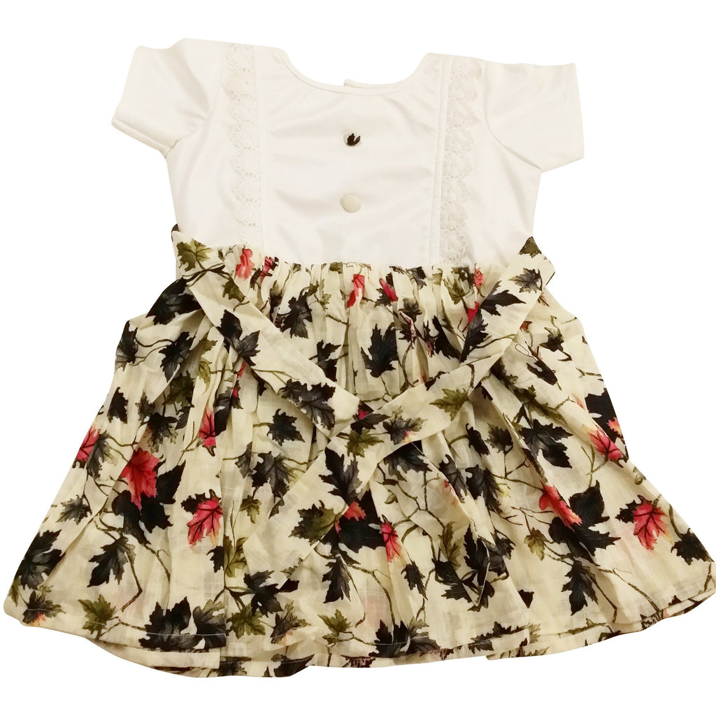 White Stain-Proof Toddler Printed Floral Dress Baby Clothes