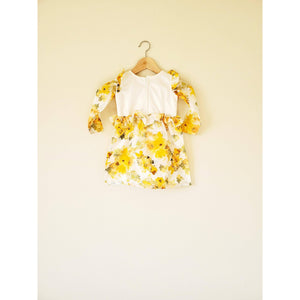 Yellow Stain-Proof Toddler Printed Floral Dress Baby Clothes