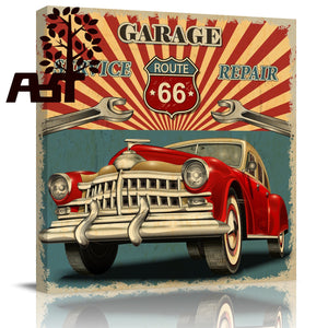 Chronic Carriages Retro Car Route 66 Oil Painting