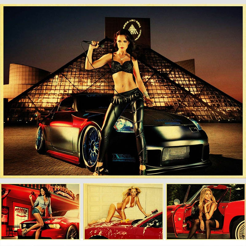 Car model Girls Vintage Paper Poster Wall Painting Home Decoration 42X30 CM 30X21 CM