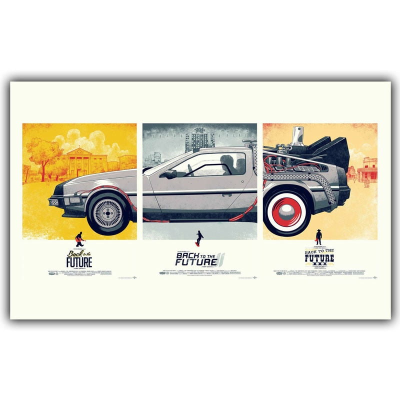 Back To The Future Movie Classic Poster Print Silk Wallpaper Living Room Decorative Painting Art Car 30x48cm 50x80cm