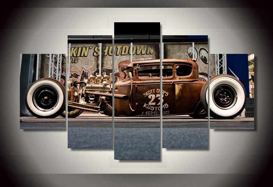 Framed Printed Antique classic car Group Painting room decor print poster picture canvas decoration Free shippingdd1117