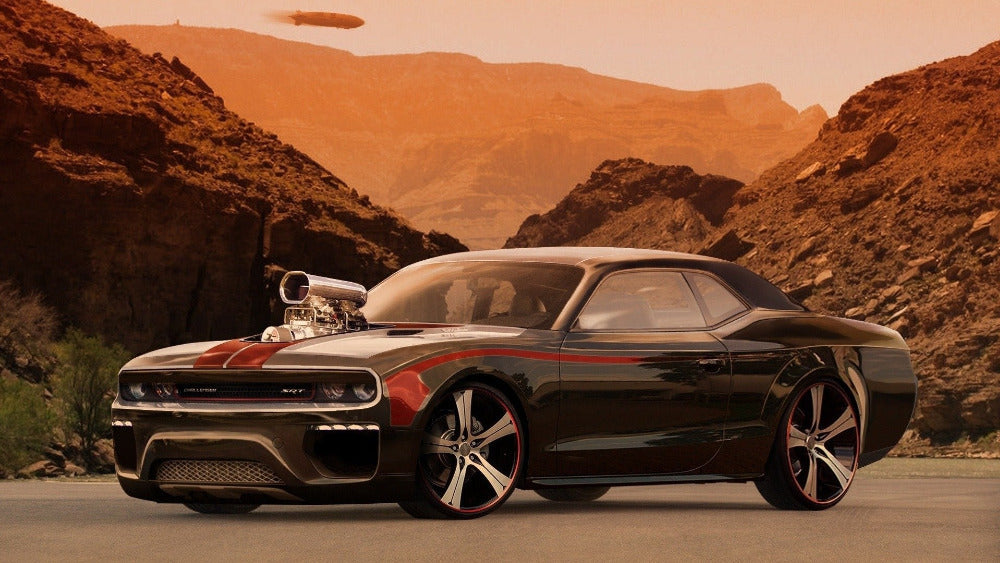 Canvas Poster Silk Fabric P0482 DODGE CHALLENGER TUNING DESERT CAR AUTO POSTER large thin