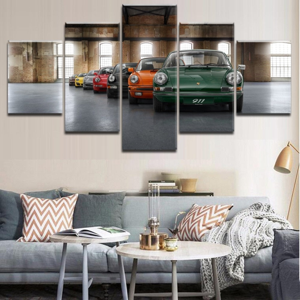 Canvas Art HD Printed Poster Wall Decor Living Room Picture Frame 5 Pieces Classic Old-Fashioned Car 911 Painting