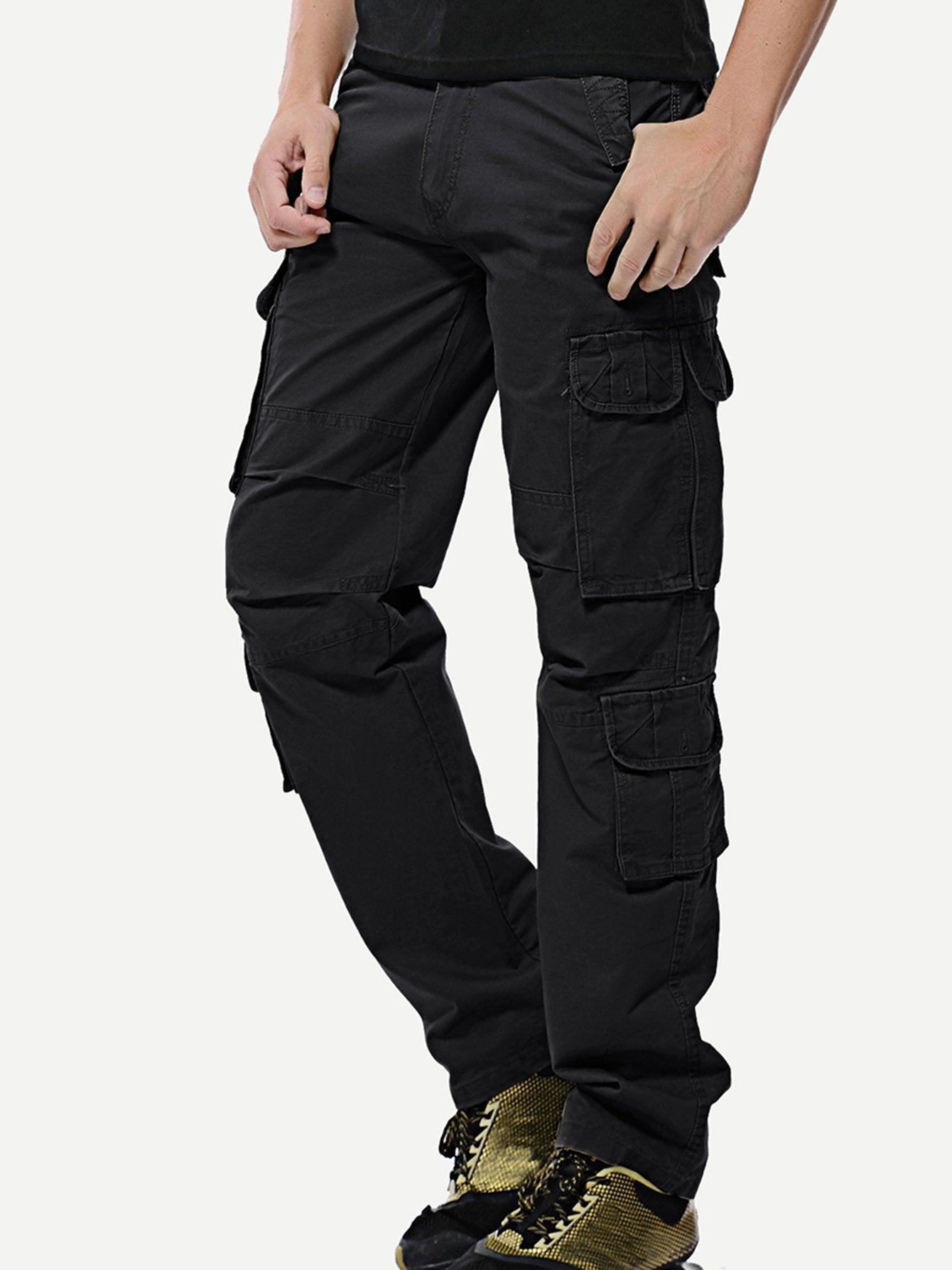 Men Pocket Detail Solid Pants