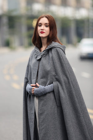 maxi coat wool hooded cloak