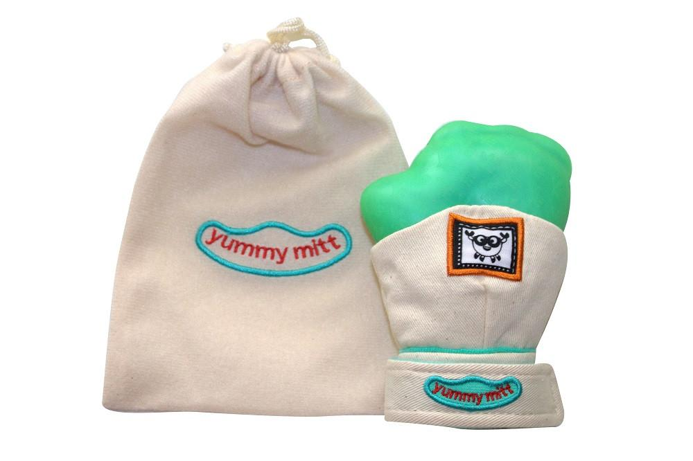 "Yummy Mitt® Teething Mitten - Beige & Green  ""GLOW IN THE DARK"""