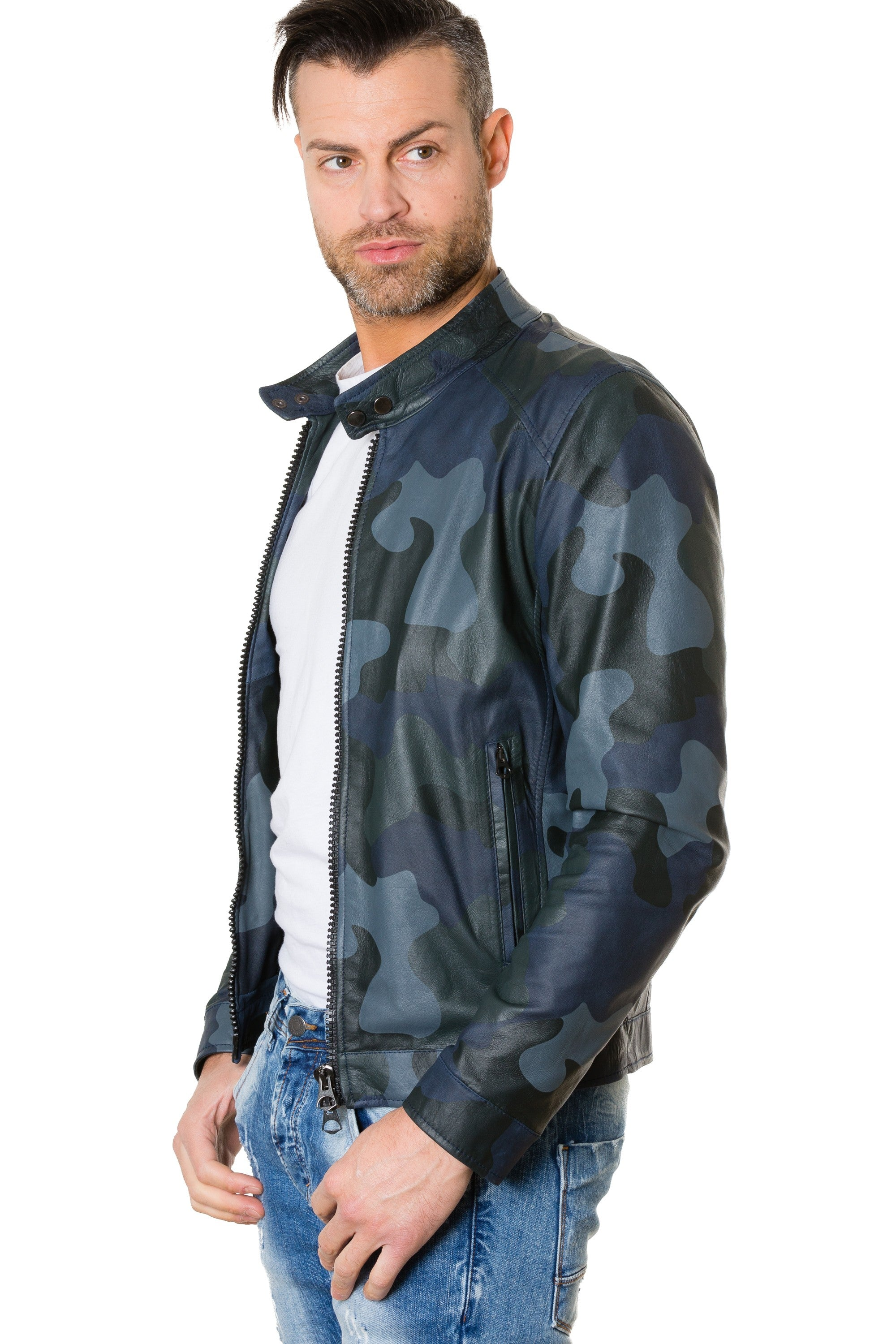 Men's Leather Jacket Blue Camouflage Ted