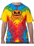 Pumpkin Skeleton Halloween Tie Dye Tee Shirt - Woodstock