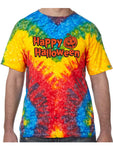 Happy Halloween with Pumpkin Tie Dye Tee Shirt - Woodstock