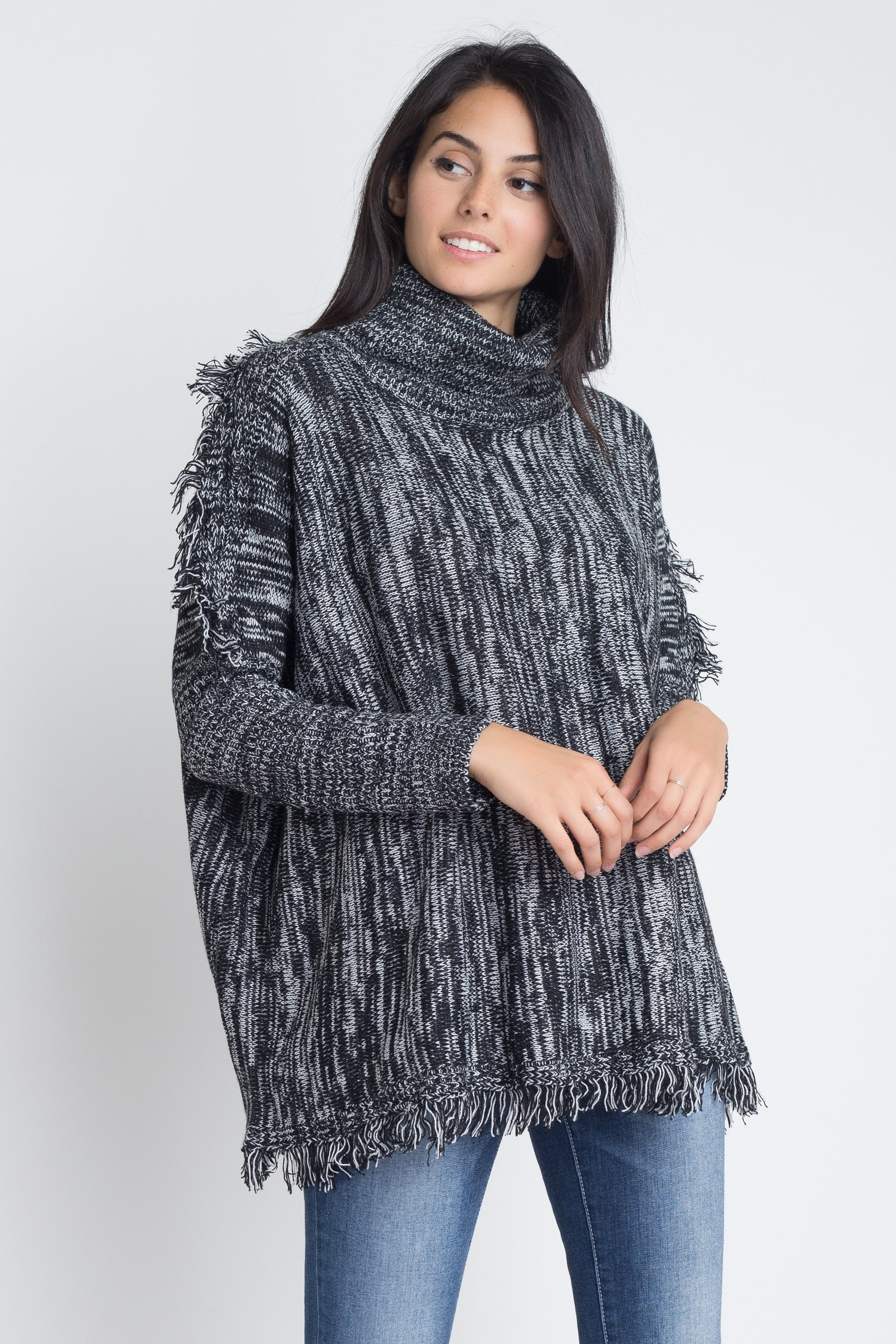 Women's Turtle Neck Tassel Sweater