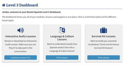 Preview of Rocket Spanish Course 3 Dashboard