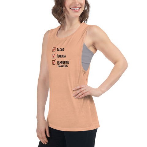 Ladies' Flowy Tank Top (Tangerine Travels Checklist, 5 Color Options)