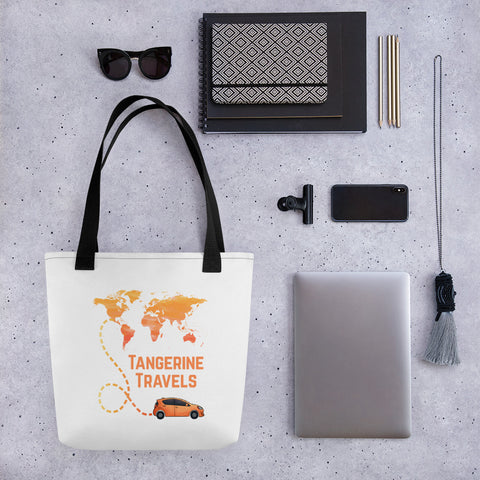 Tangerine Travels Map Tote Bag