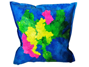 UPDATE: SOLD___BLUE ISLAND - Bright Bold Hand-painted Cushion for your modern home design