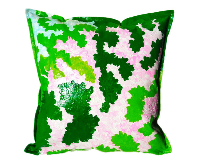 UPDATE: SOLD__GREEN ISLAND - Bright Bold Hand-painted Cushion for your modern home design