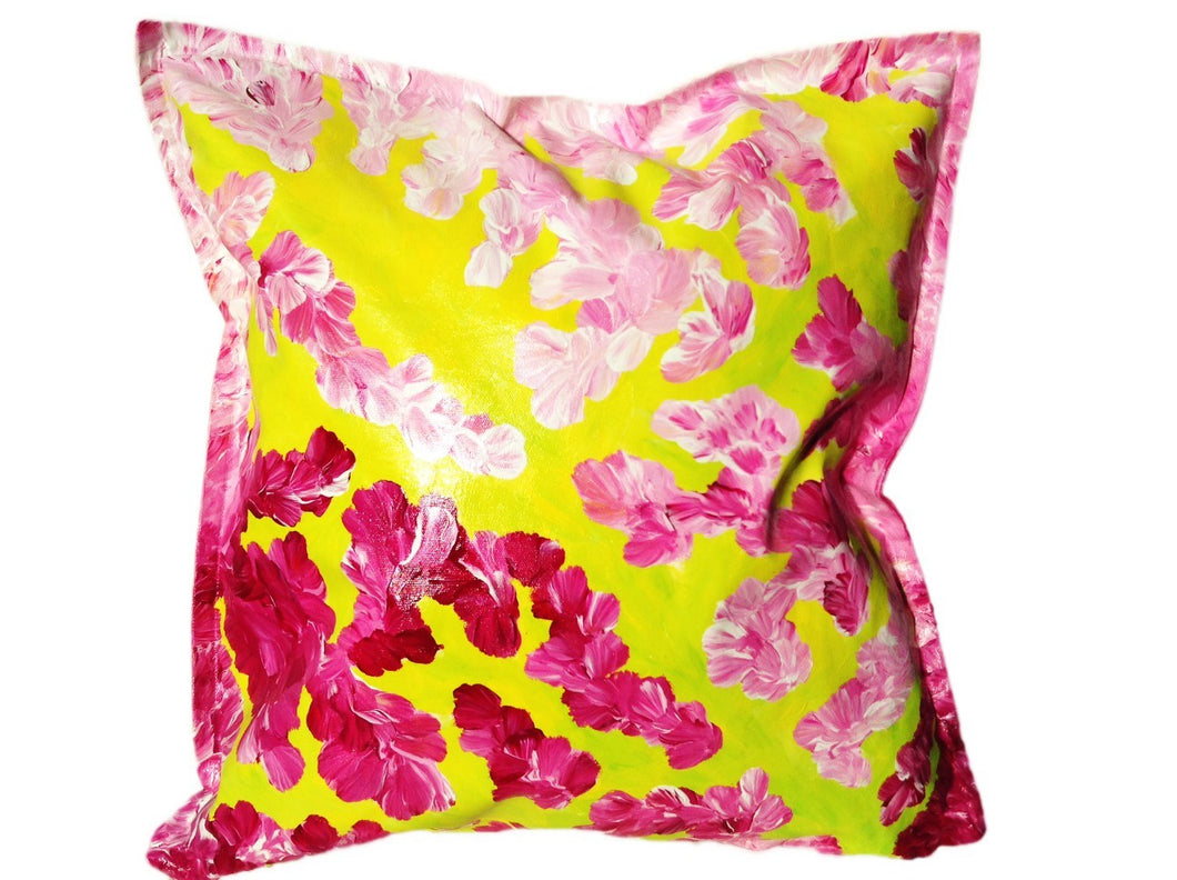 UPDATE: SOLD___PINK ISLAND - Bright Bold Hand-painted Cushion for your modern home design