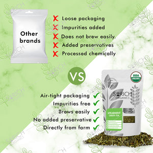Sorich Organics Spearmint Green Tea - Antioxidants Rich Detox Tea to Refresh Your Mind - 100 Gm