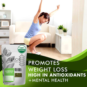 Moringa Green Tea - Antioxidants & Protein Rich Detox Tea for Weight Management - 100 Gm