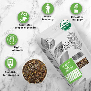 Sorich Organics Lemon Tulsi Green Tea - Antioxidants Rich, Immunity Booster Detox Tea - 100 Gm